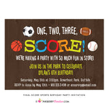 Final Score - Kids Sports Theme Birthday Party Invitation