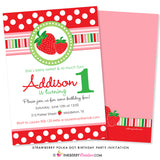 Sweet Strawberry Polka Dot Birthday Party Invitation - inkberrycards