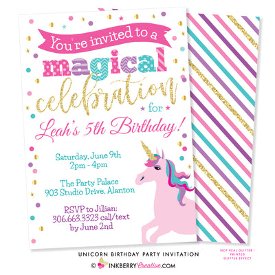 unicorn birthday party invitation with gold glitter unicorn