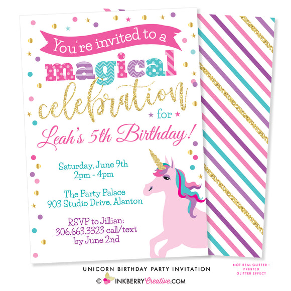 Unicorn Birthday Party Invitation - inkberrycards