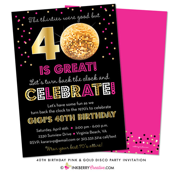 Disco Ball 70's Party Invitation - 40th or 50th Birthday Party Invitation - inkberrycards