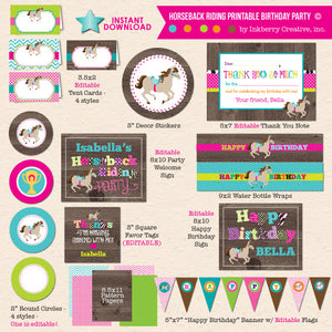 Horseback Riding Birthday Party - DIY Printable Party Package