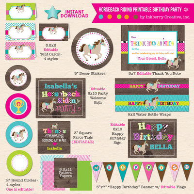 Horseback Riding Birthday Party - DIY Printable Party Package - inkberrycards