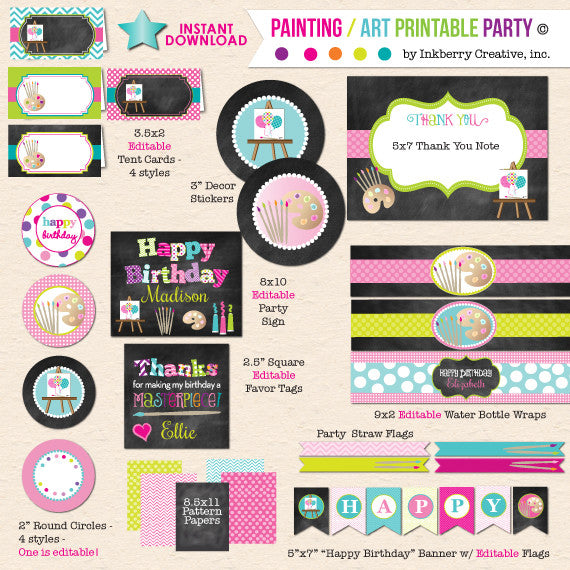 Painting Art Party - Chalkboard Style - DIY Printable Birthday Party Package