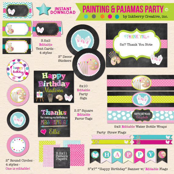 Painting and Pajamas Chalkboard Style Birthday with Bunny Slippers - DIY Printable Party Pack
