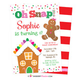 Oh Snap - Christmas Gingerbread Girl Birthday Party Invitation