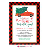 Christmas Tree Truck - Wonderful Time of Year, Buffalo Plaid Christmas Party Invitation