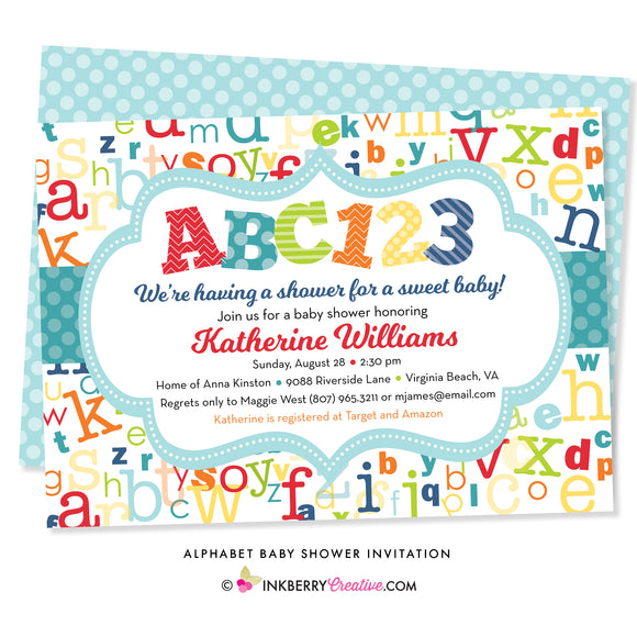 colorful alphabet baby shower invitation with ABC 123 colorful letters and numbers