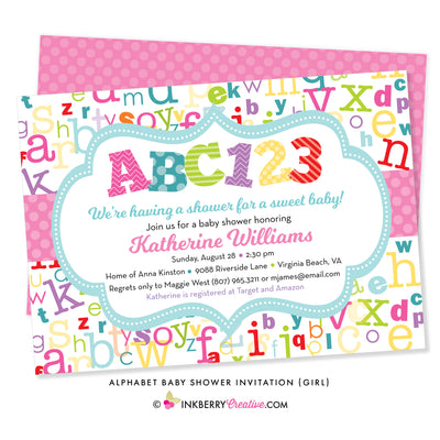 colorful alphabet girl baby shower invitation with ABC 123 colorful letters and numbers