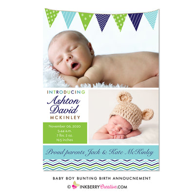 Baby Bunting - Baby Boy Photo Birth Announcement