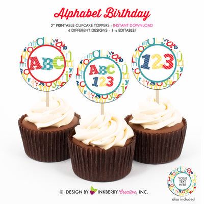 Alphabet Birthday (Boys) - Printable Cupcake Toppers - Instant Download PDF File - inkberrycards