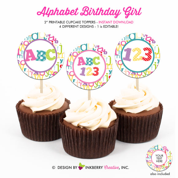 Alphabet Birthday (Girl) - Printable Cupcake Toppers - Instant Download PDF File