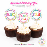 Alphabet Birthday (Girl) - Printable Cupcake Toppers - Instant Download PDF File - inkberrycards