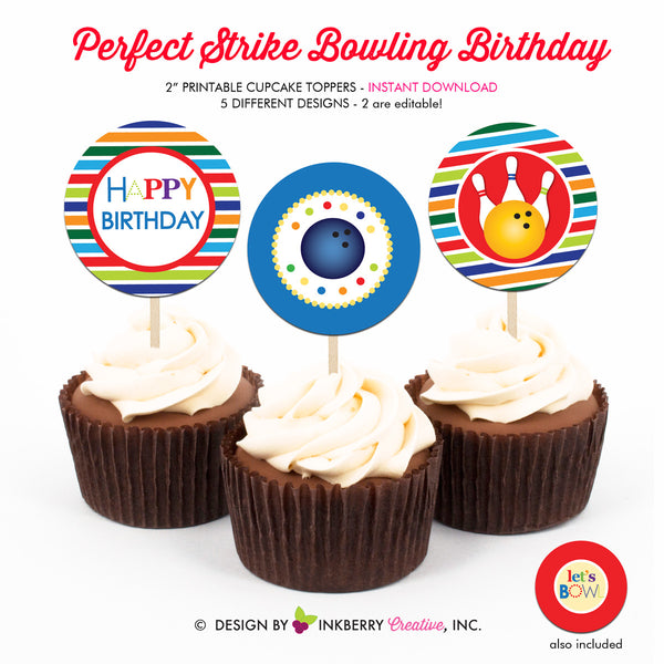 Perfect Strike Bowling Birthday (Boy) - Printable Cupcake Toppers - Instant Download PDF File
