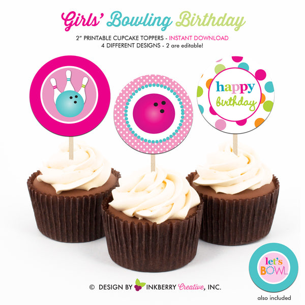 Perfect Strike Bowling Birthday (Girl) - Printable Cupcake Toppers - Instant Download PDF File