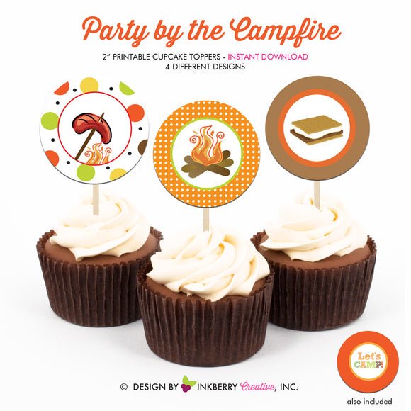 Party by the Campfire (Boys) - Printable Cupcake Toppers - Instant Download PDF File