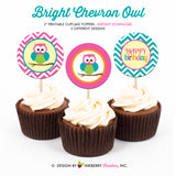 Bright Chevron Owl - Printable Cupcake Toppers - Instant Download PDF File - inkberrycards