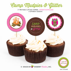 Camp Mudpies and Glitter - Printable Cupcake Toppers - Instant Download PDF File