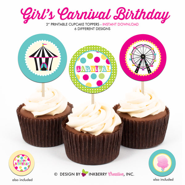 Kids Carnival (Girl) - Printable Cupcake Toppers - Instant Download PDF File