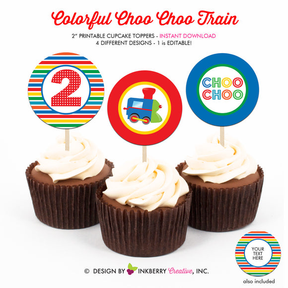 Colorful Choo Choo Train 2nd Birthday - Printable Cupcake Toppers - Instant Download PDF File - inkberrycards