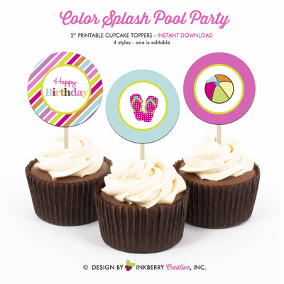image relating to Printable Cupcake Toppers called Change Flop Splash Pool Celebration - Printable Cupcake Toppers - Instantaneous Obtain PDF Document