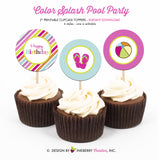 Flip Flop Splash Pool Party - Printable Cupcake Toppers - Instant Download PDF File