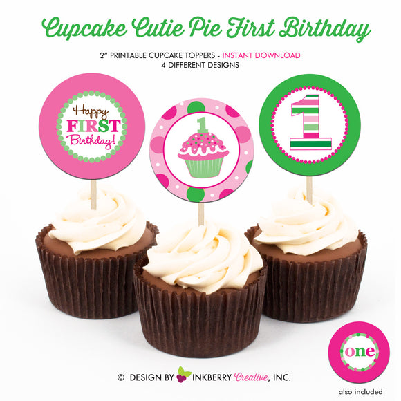 Cupcake Cutie Pie First Birthday (Pink and Green) - Printable Cupcake Toppers - Instant Download PDF File