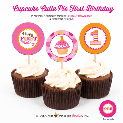 Cupcake Cutie Pie First Birthday (Pink and Orange) - Printable Cupcake Toppers - Instant Download PDF File - inkberrycards