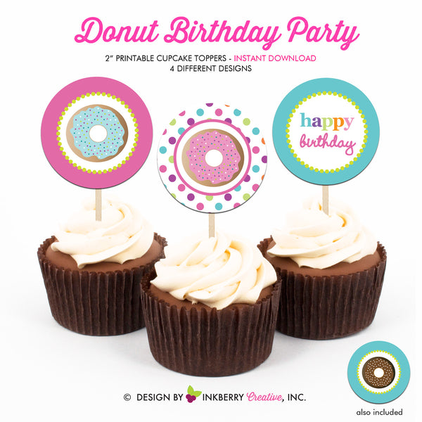 Donuts and Pajamas Birthday - Printable Cupcake Toppers - Instant Download PDF File