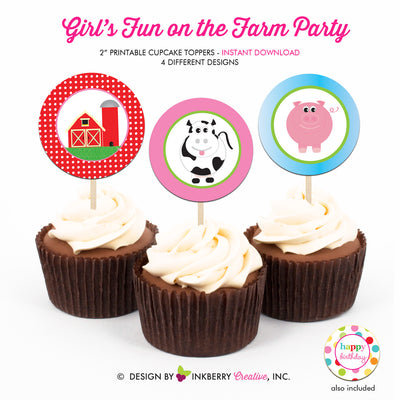 Fun on the Farm Birthday (Girls) - Printable Cupcake Toppers - Instant Download PDF File - inkberrycards