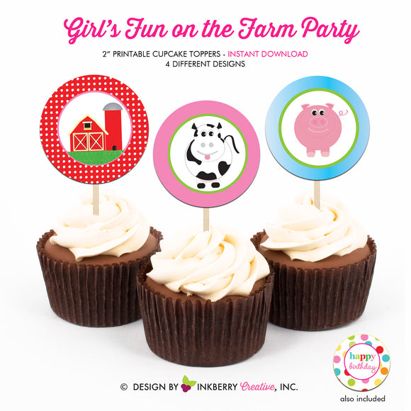 Fun on the Farm Birthday (Girls) - Printable Cupcake Toppers - Instant Download PDF File