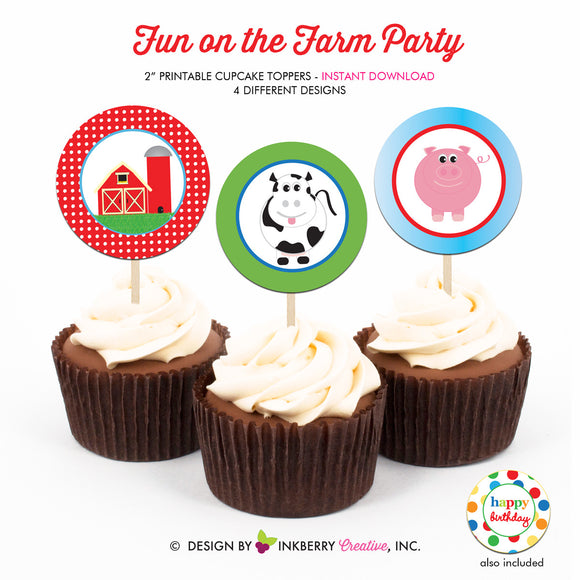 Fun on the Farm Birthday - Printable Cupcake Toppers - Instant Download PDF File