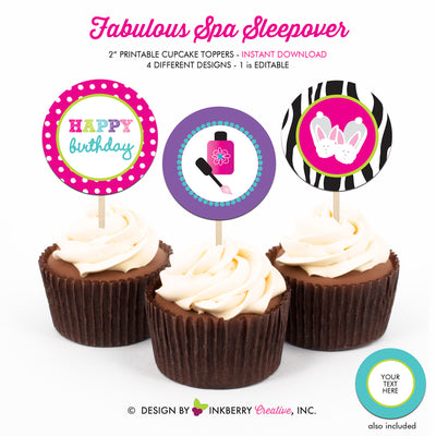 Fabulous Spa Salon Sleepover - Printable Cupcake Toppers - Instant Download PDF File - inkberrycards