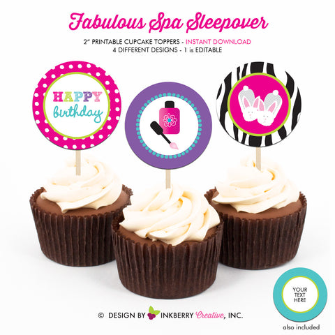 Fabulous Spa Salon Sleepover - Printable Cupcake Toppers - Instant Download PDF File