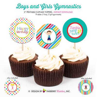 Gymnastics Birthday (Boy Girl) - Printable Cupcake Toppers - Instant Download PDF File - inkberrycards