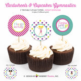 Gymnastics Birthday (Girls) - Printable Cupcake Toppers - Instant Download PDF File