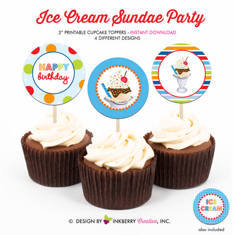 Ice Cream Sundae (Boys) - Printable Cupcake Toppers - Instant Download PDF File