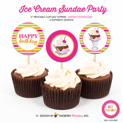 Ice Cream Sundae (Girls) - Printable Cupcake Toppers - Instant Download PDF File - inkberrycards