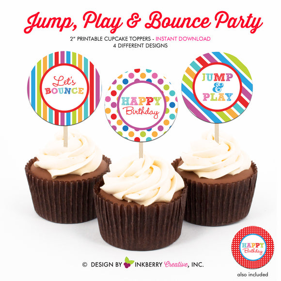 Jump, Play and Bounce (Polka Dot Stripes) - Printable Cupcake Toppers - Instant Download PDF File