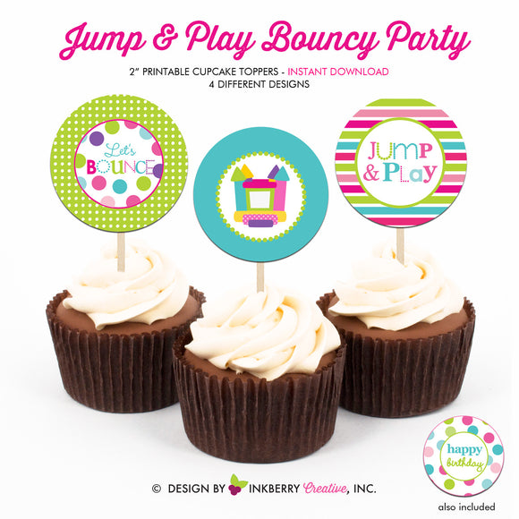 Jump and Play (Girls) - Printable Cupcake Toppers - Instant Download PDF File