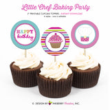 Little Chef Baking Birthday (Cupcakes) - Printable Cupcake Toppers - Instant Download PDF File