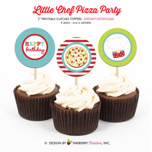 Little Chef Baking Birthday (Pizza) - Printable Cupcake Toppers - Instant Download PDF File