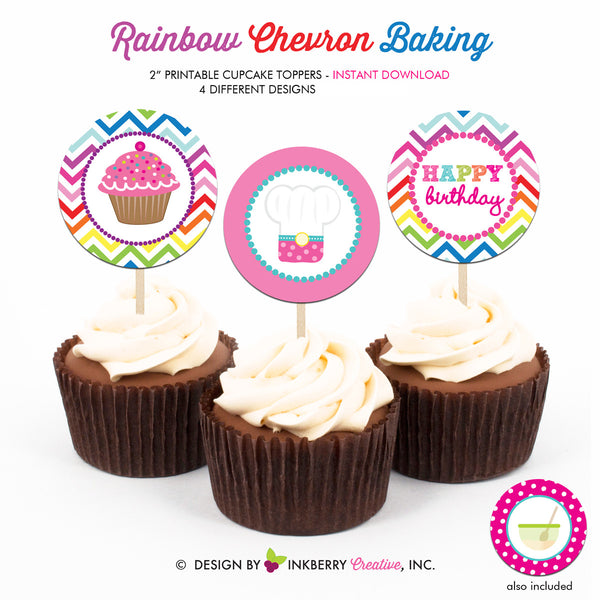 Little Chef Rainbow Chevron Baking Birthday (Cupcakes) - Printable Cupcake Toppers - Instant Download PDF File