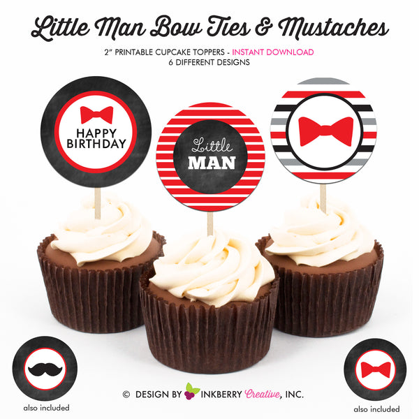 Little Man Bow Tie Birthday (Red) - Printable Cupcake Toppers - Instant Download PDF File