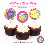 Luau Birthday - Printable Cupcake Toppers - Instant Download PDF File