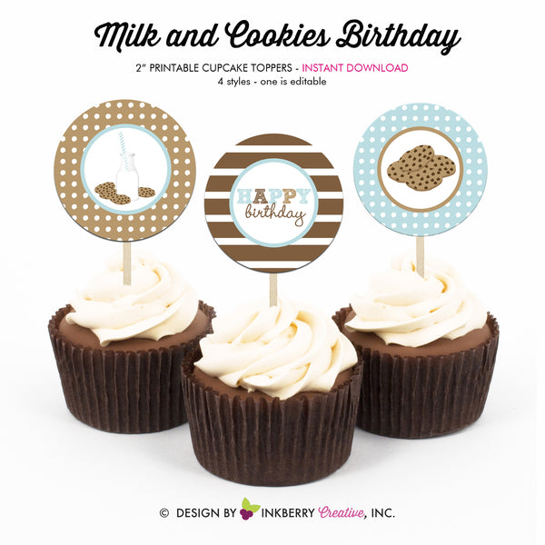 Milk and Cookies Birthday (Blue) - Printable Cupcake Toppers - Instant Download PDF File
