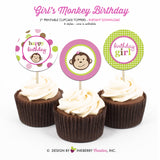 Little Monkey Girl (Pink, Green and Brown) - Printable Cupcake Toppers - Instant Download PDF File - inkberrycards