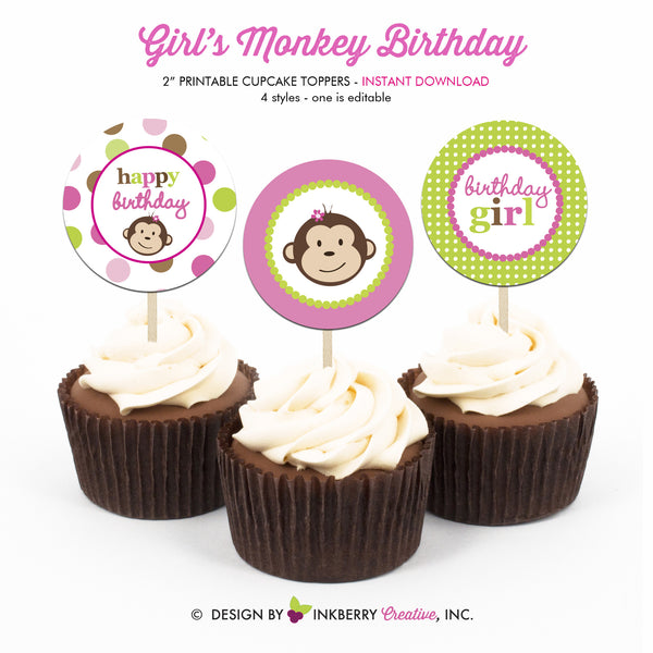 Little Monkey Girl (Pink, Green and Brown) - Printable Cupcake Toppers - Instant Download PDF File
