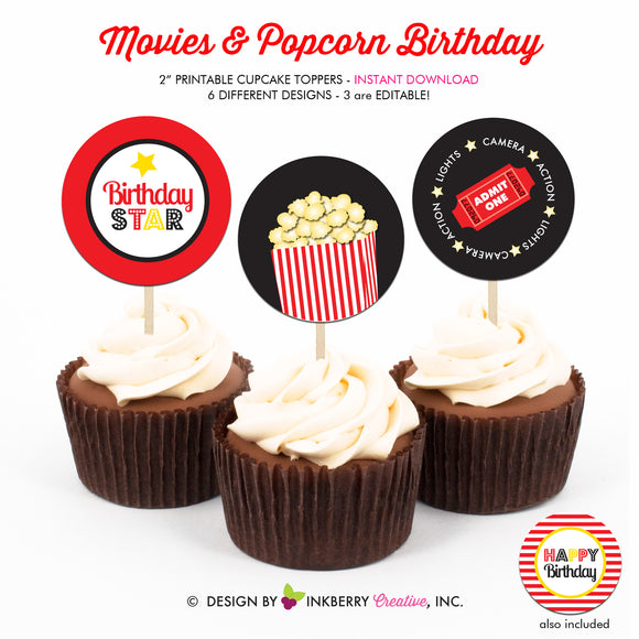 Movies and Popcorn - Printable Cupcake Toppers - Instant Download PDF File - inkberrycards