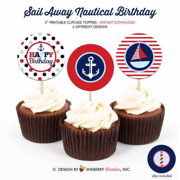 Nautical Birthday (Boy) - Printable Cupcake Toppers - Instant Download PDF File - inkberrycards